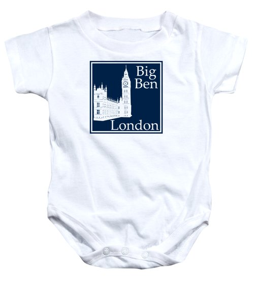 London's Big Ben In Oxford Blue Baby Onesie by Custom Home Fashions