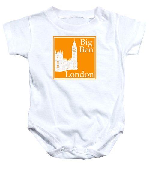 London's Big Ben In Tangerine Baby Onesie by Custom Home Fashions