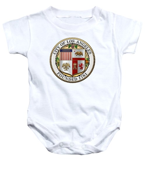 Los Angeles City Seal Over White Leather Baby Onesie by Serge Averbukh