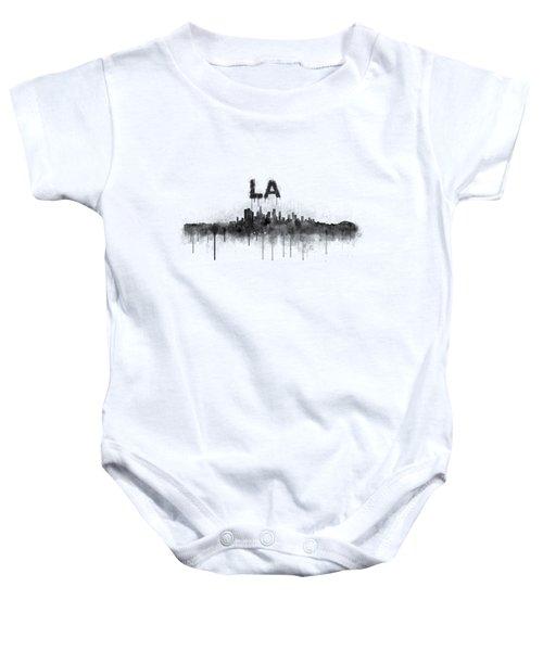 Los Angeles City Skyline Hq V5 Bw Baby Onesie by HQ Photo
