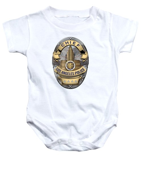 Los Angeles Police Department  -  L A P D  Chief Badge Over White Leather Baby Onesie by Serge Averbukh