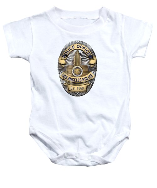Los Angeles Police Department  -  L A P D  Police Officer Badge Over White Leather Baby Onesie by Serge Averbukh