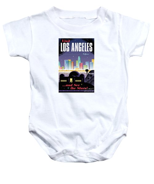 Los Angeles Retro Travel Poster Baby Onesie by Jim Zahniser