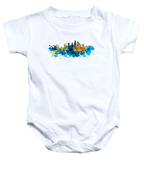Los Angeles Skyline Baby Onesie by Marian Voicu