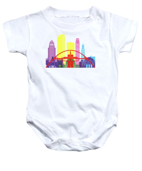 Los Angeles Skyline Pop Baby Onesie by Pablo Romero