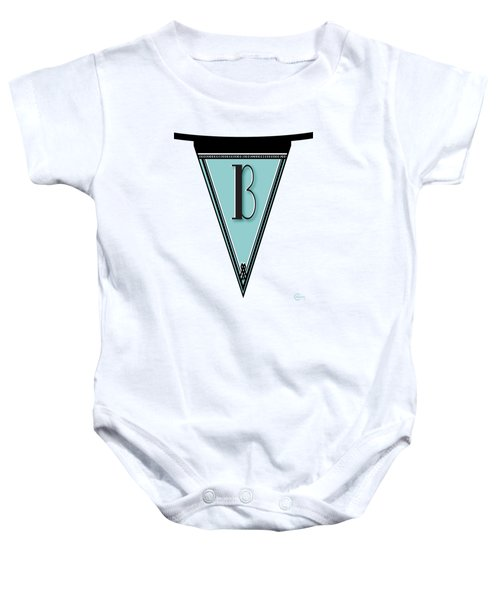 Pennant Deco Blues Banner Initial Letter B Baby Onesie by Cecely Bloom