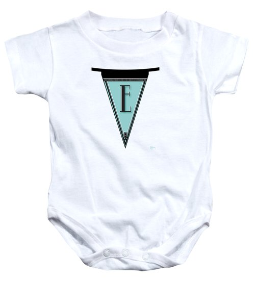 Pennant Deco Blues Banner Initial Letter E Baby Onesie by Cecely Bloom