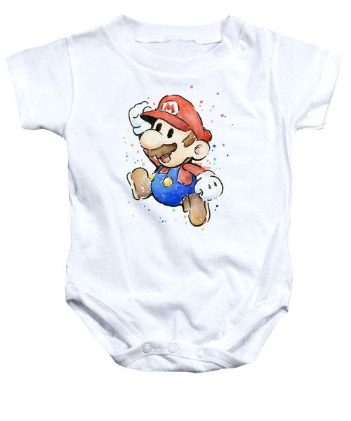 Mario Watercolor Fan Art Baby Onesie by Olga Shvartsur