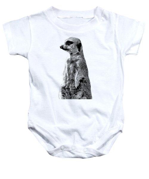 Meerkat Etching Baby Onesie by Greg Noblin