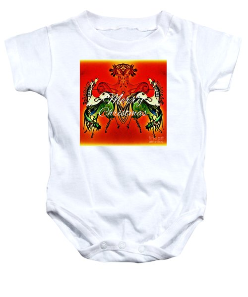 Merry Christmas Dancing Musical Horses Baby Onesie by Scott D Van Osdol