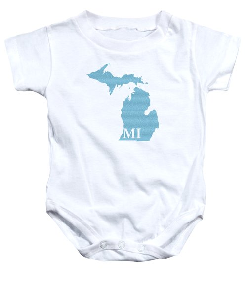 Michigan State Map With Text Of Constitution Baby Onesie by Design Turnpike