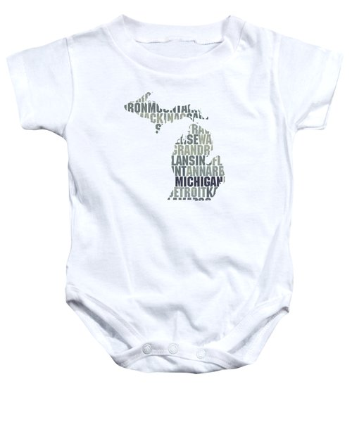 Michigan State Outline Word Map Baby Onesie by Design Turnpike