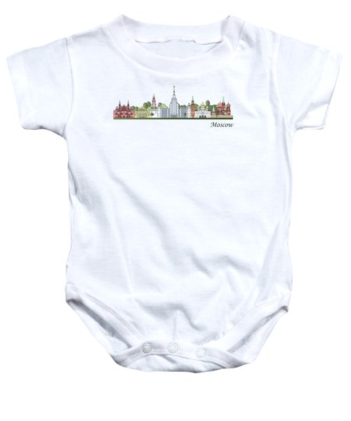 Moscow Skyline Colored Baby Onesie by Pablo Romero