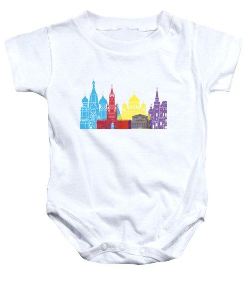 Moscow Skyline Pop Baby Onesie by Pablo Romero