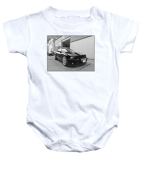 Mustang Alley In Black And White Baby Onesie by Gill Billington