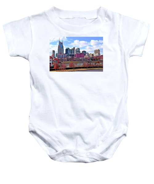 Nashville On The Riverfront Baby Onesie by Frozen in Time Fine Art Photography