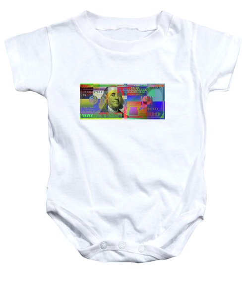2009 Series Pop Art Colorized U. S. One Hundred Dollar Bill  V.3.0 Baby Onesie by Serge Averbukh