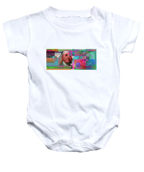 New 2009 Series Pop Art Colorized Us One Hundred Dollar Bill  V.3.2 Baby Onesie by Serge Averbukh