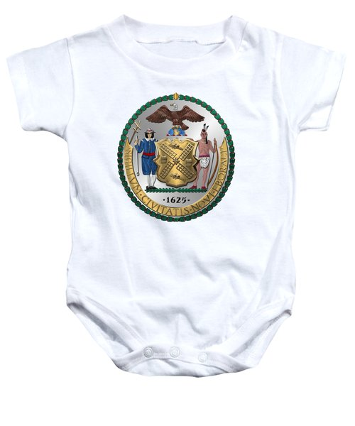New York City Coat Of Arms - City Of New York Seal Over White Leather  Baby Onesie by Serge Averbukh