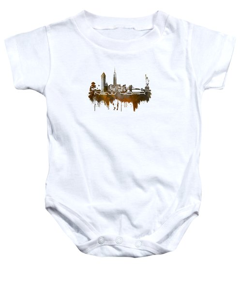 New York City Skyline Brown Baby Onesie by Justyna JBJart