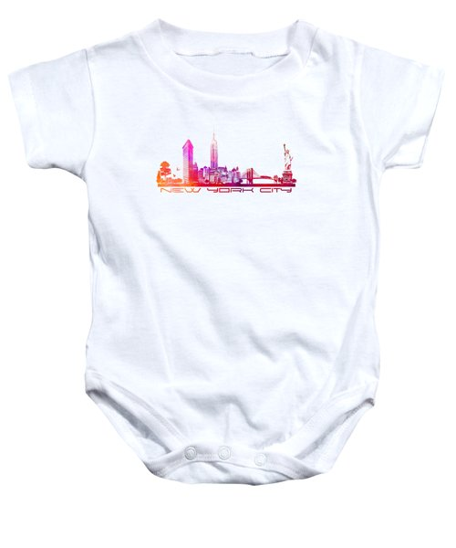 New York City Skyline Purple Baby Onesie by Justyna JBJart