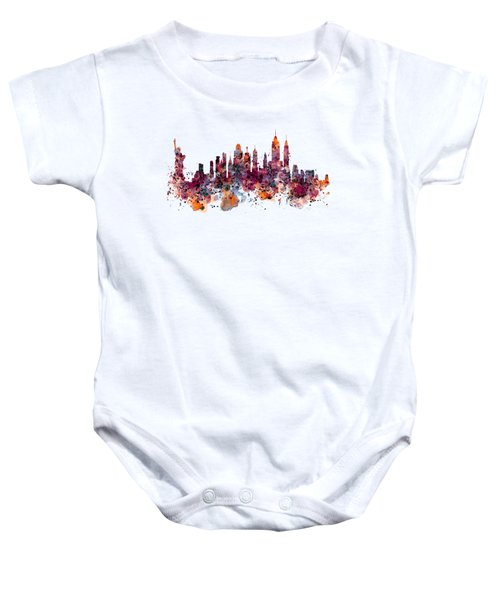 New York Skyline Watercolor Baby Onesie by Marian Voicu