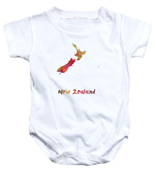 New Zealand In Watercolor Baby Onesie by Pablo Romero