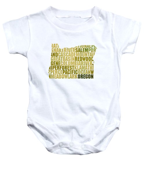 Oregon State Outline Word Map Baby Onesie by Design Turnpike