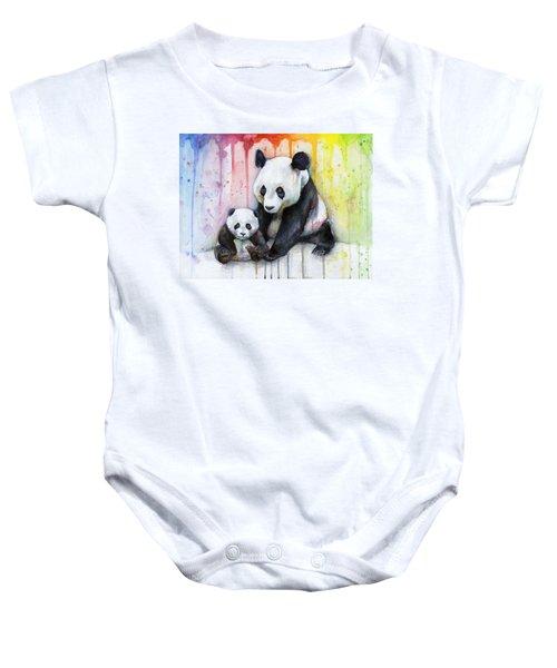 Panda Watercolor Mom And Baby Baby Onesie by Olga Shvartsur