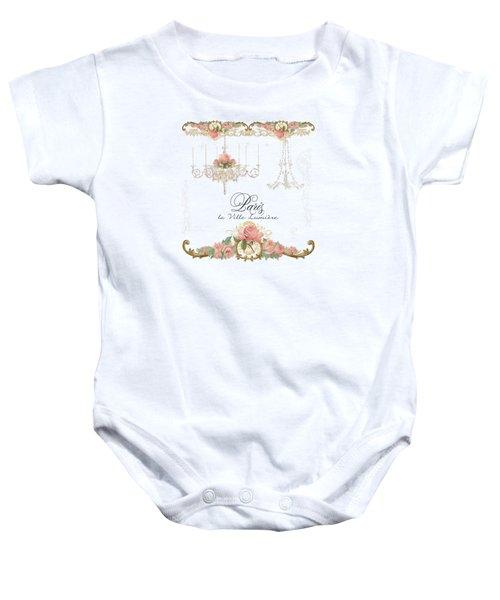 Parchment Paris - City Of Light Rose Chandelier W Plaster Walls Baby Onesie by Audrey Jeanne Roberts