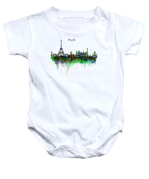 Paris Skyline Watercolor Baby Onesie by Marian Voicu