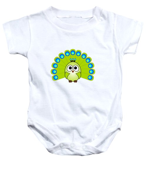 Peacock  - Birds - Art For Kids Baby Onesie by Anastasiya Malakhova