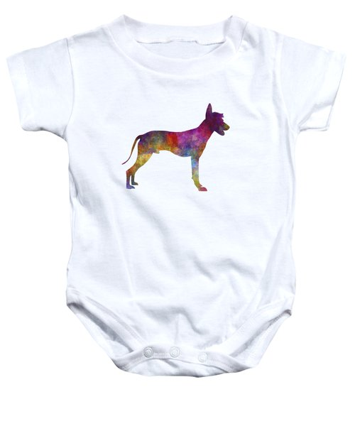 Peruvian Hairless Dog In Watercolor Baby Onesie by Pablo Romero