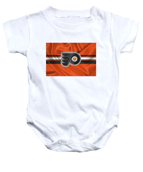 Philadelphia Flyers - 3 D Badge Over Silk Flag Baby Onesie by Serge Averbukh