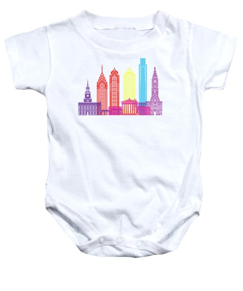 Philadelphia Skyline Pop Baby Onesie by Pablo Romero