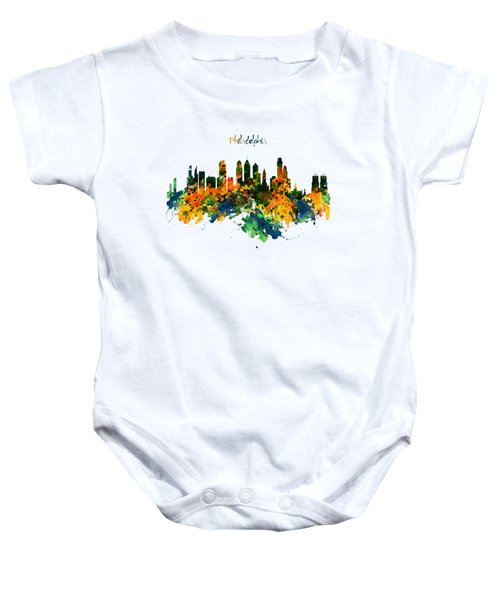 Philadelphia Watercolor Skyline Baby Onesie by Marian Voicu