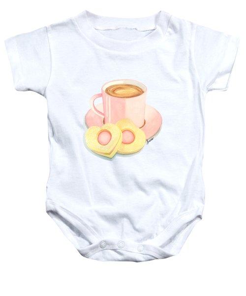Pink Cup Coffee Served With Cookies Baby Onesie by Sonja Taljaard