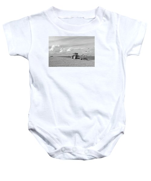 Ploughing After The Harvest In Black And White Baby Onesie by Gill Billington