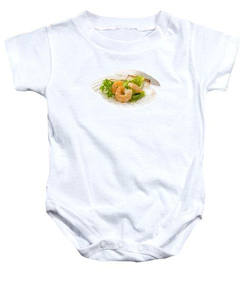 Prawn Appetizer Baby Onesie by Amanda Elwell