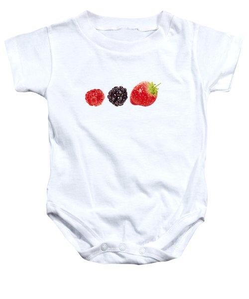 Raspberry, Blackberry And Strawberry In Watercolor Baby Onesie by Kathleen Skinner