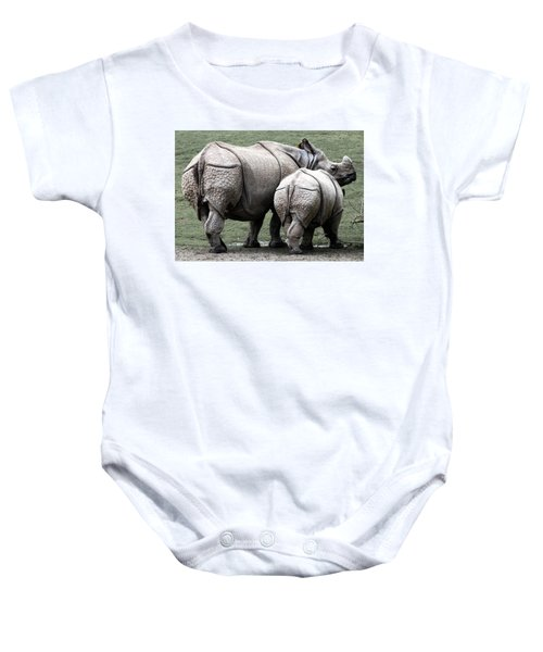Rhinoceros Mother And Calf In Wild Baby Onesie by Daniel Hagerman