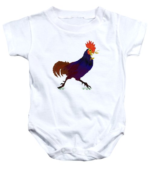 Rooster  T Shirt Baby Onesie by Nancy Pauling