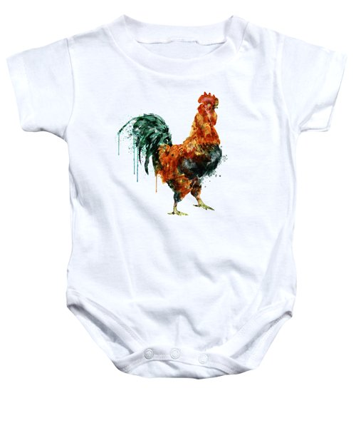 Rooster Watercolor Painting Baby Onesie by Marian Voicu
