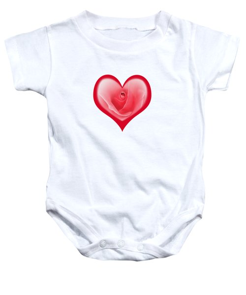 Rose Heart T-shirt And Print By Kaye Menner Baby Onesie by Kaye Menner