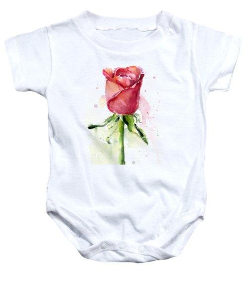 Rose Watercolor Baby Onesie by Olga Shvartsur
