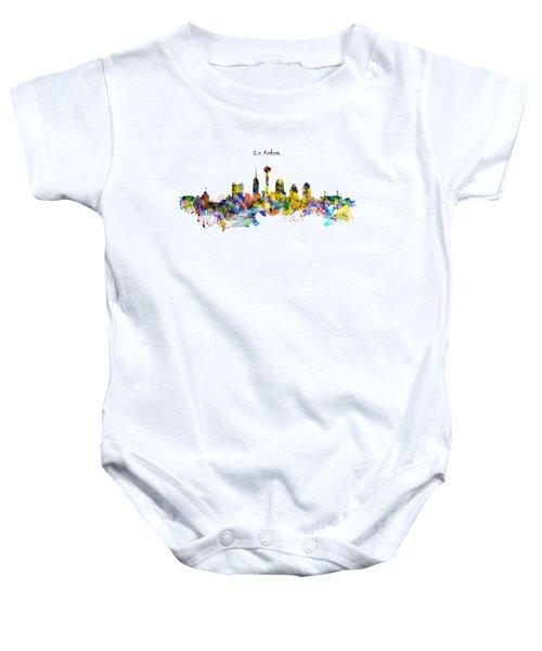 San Antonio Skyline Silhouette Baby Onesie by Marian Voicu