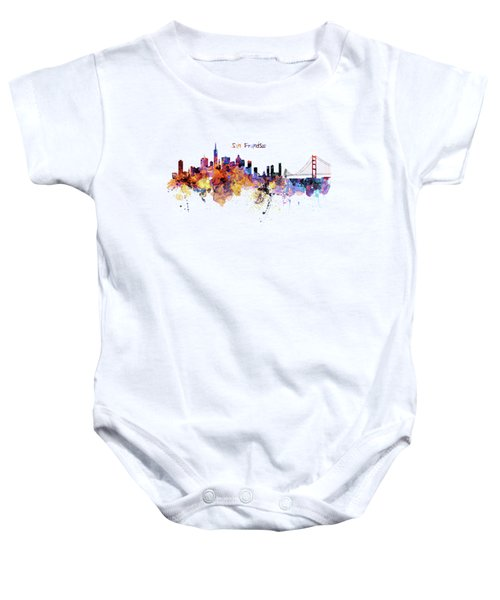 San Francisco Watercolor Skyline Baby Onesie by Marian Voicu