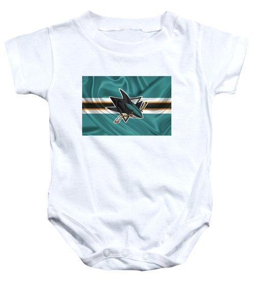San Jose Sharks - 3 D Badge Over Silk Flagsan Jose Sharks - 3 D Badge Over Silk Flag Baby Onesie by Serge Averbukh