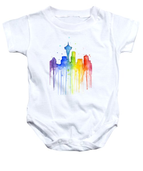 Seattle Rainbow Watercolor Baby Onesie by Olga Shvartsur