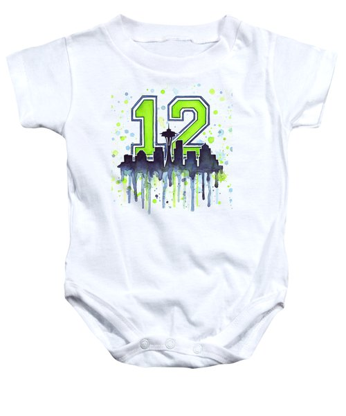 Seattle Seahawks 12th Man Art Baby Onesie by Olga Shvartsur